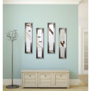 10 inch x 31 inch Silver Petite Mirror (Set of 4-Panels) by