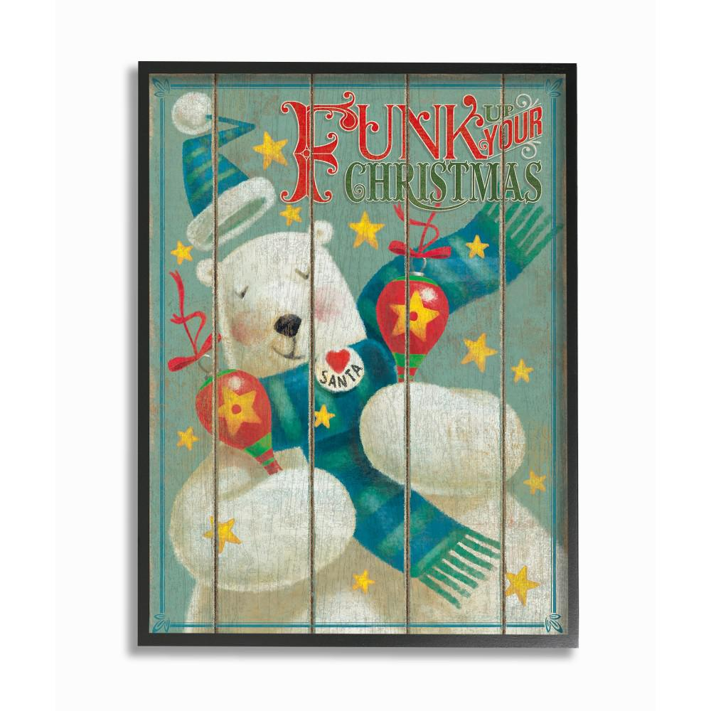 The Stupell Home D/écor Collection Holiday Retro Inspired Beary Merry Christmas with Polar Bear Framed Giclee Texturized Art Multi-Color 12 x 12
