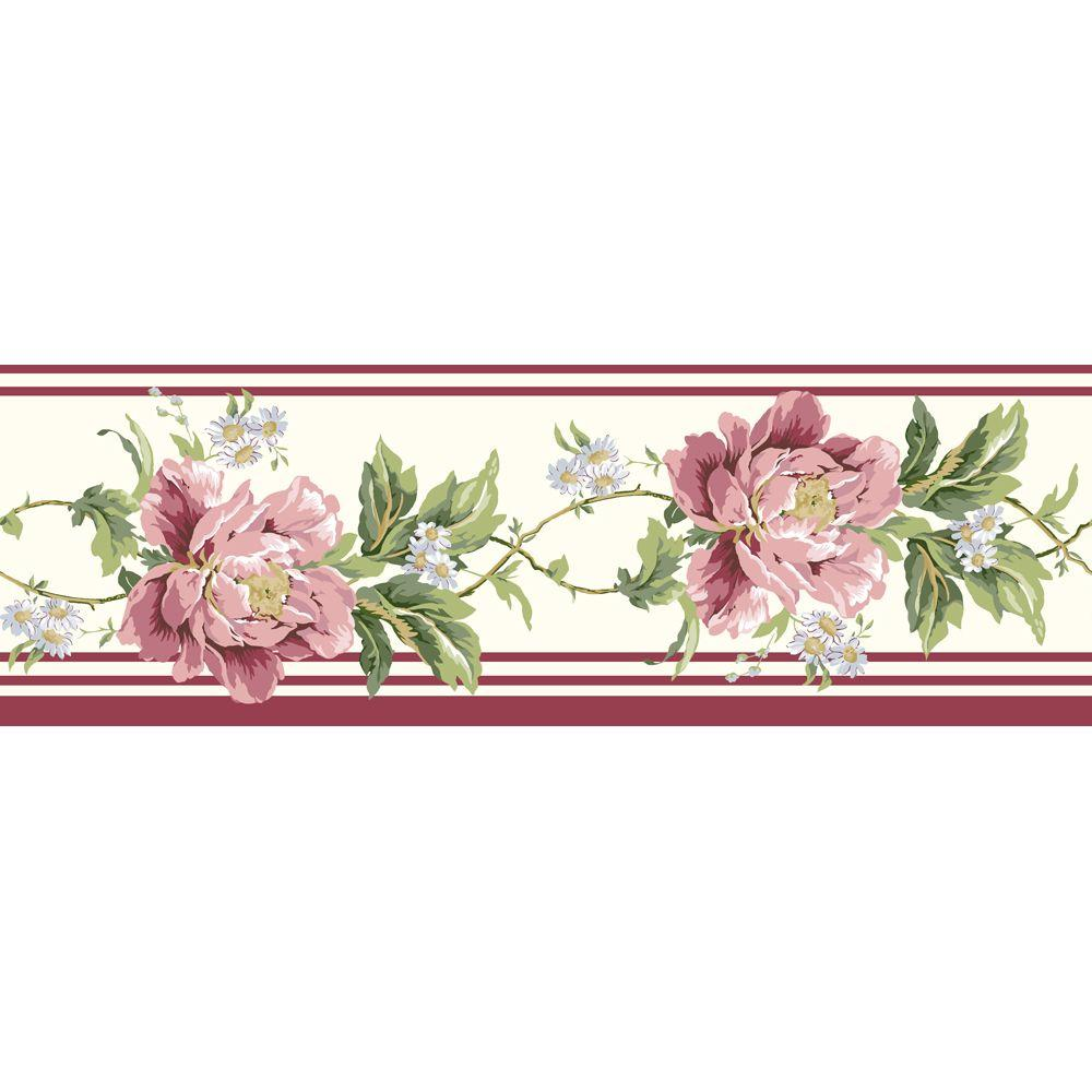 The Wallpaper Company 8 in. x 10 in. Forever Heirloom Border Red/Purple Wallpaper Sample-DISCONTINUED