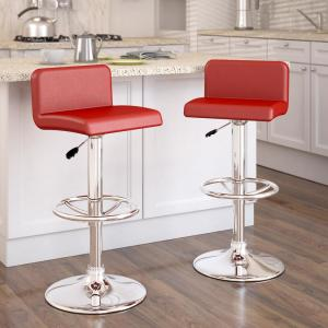 Sensational Corliving Adjustable Red Leatherette Low Back Bar Stool Set Gmtry Best Dining Table And Chair Ideas Images Gmtryco