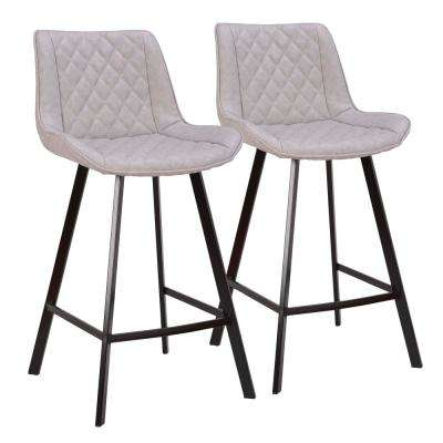Wayne 26 in. Grey Faux Leather Counter Stool
