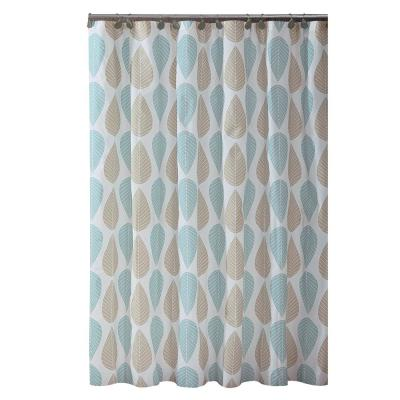 PEVA 70 in. x 72 in.  Beige and Blue Leaf Design  Shower Curtain