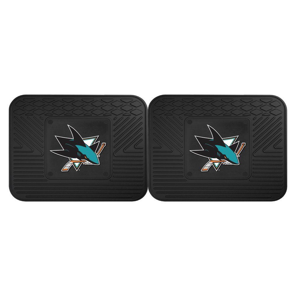NHL San Jose Sharks Black Heavy Duty 14 in. x 17 in. 2-Piece Vinyl Utility Mat