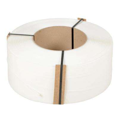 12,900 ft. Roll 9 in. x 8 in. Core White Poly Strapping