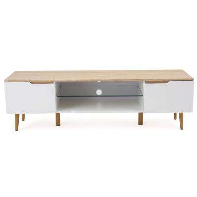 White and Brown Wooden TV Console with Glass Shelf and Drawer
