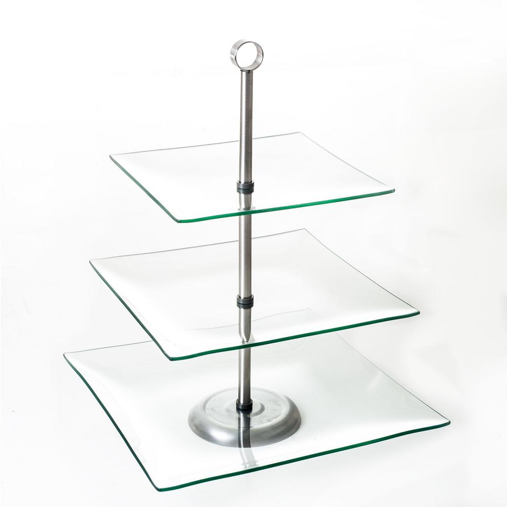 chef buddy 3 tier square glass cake stand hw0318001 the home depot. Black Bedroom Furniture Sets. Home Design Ideas