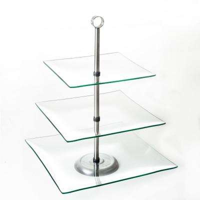 3-Tier Square Glass Cake Stand