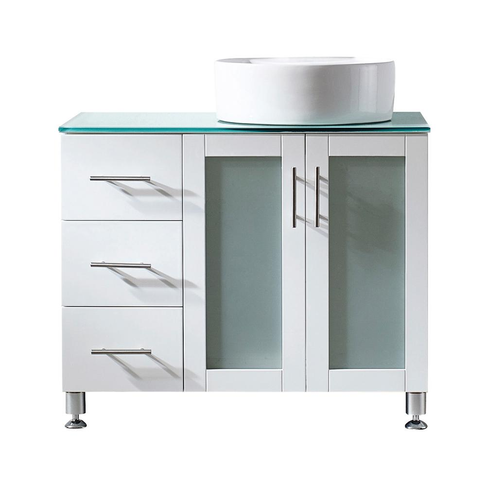 H Vanity In White With Gl Top Aqua Green Basin