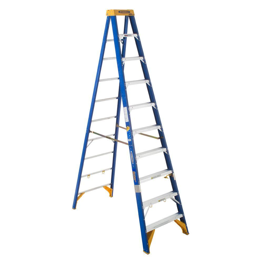 Werner 10 ft. Fiberglass Electricians JobStation Step Ladder with 375 lb. Load Capacity Type IAA Duty Rating