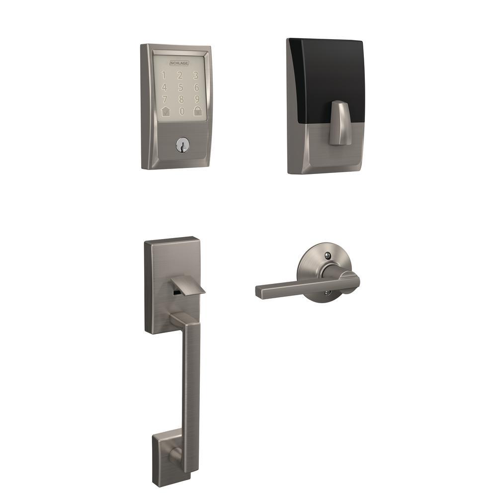 Century Encode Smart Wifi Door Lock with Alarm and Latitude Lever Handleset in Satin Nickel