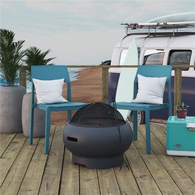 Novogratz Poolside Collection Asher 27 in. x 14.5 in. Round Ceramic Wood Burning Fire Pit Kit in Dark Gray