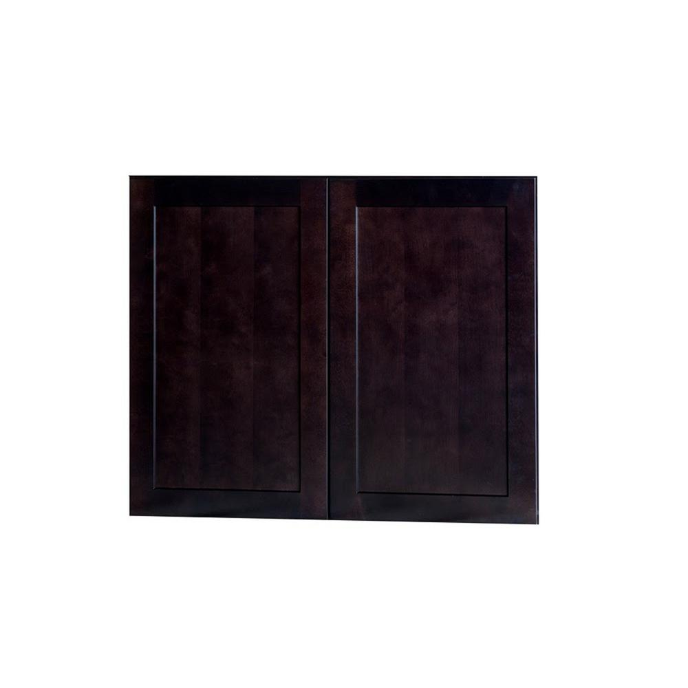 Bremen Ready to Assemble 24x30x12 in. Shaker Wall Cabinets with 2-Door and Adjustable Shelves in Espresso