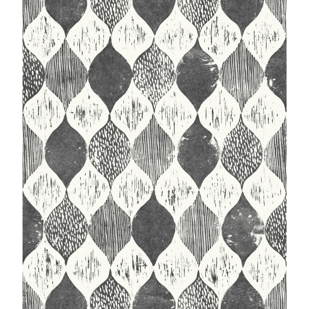 Magnolia Home By Joanna Gaines 56 Sq Ft Woodblock Print Wallpaper