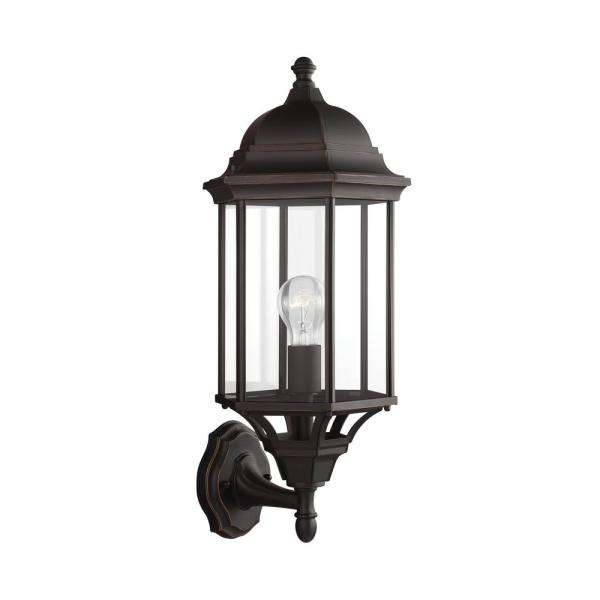 Sevier 1-Light Antique Bronze Outdoor 21.75 in. Wall Lantern Sconce