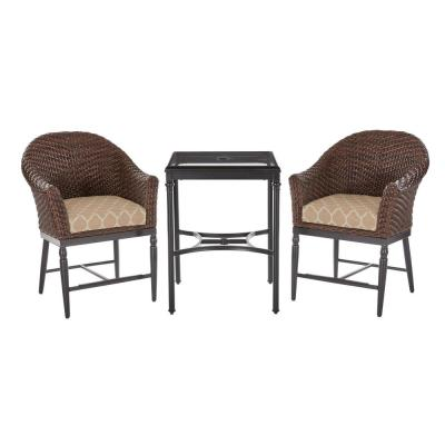 Camden 3-Piece Dark Brown Wicker Outdoor Patio Balcony Height Bistro Set with CushionGuard Toffee Trellis Tan Cushions