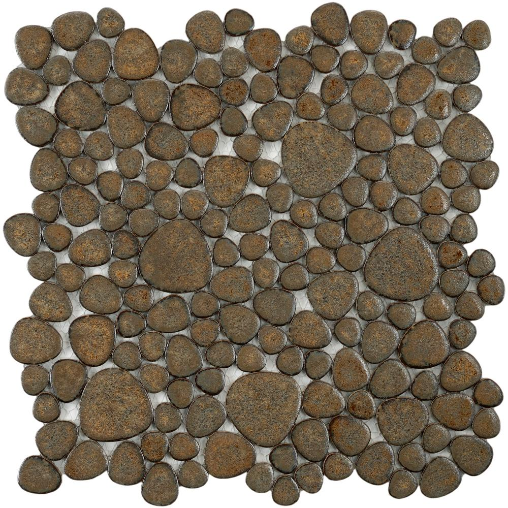 Merola Tile Pebble Brownstone 11 in. x 11 in. x 6 mm Porcelain Mosaic Tile (8.4 sq. ft. / case)