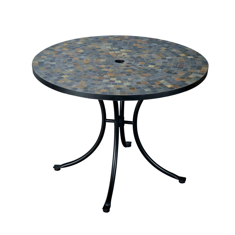 Outdoor round table top 36 - Home Styles Stone Harbor 51 In Round Slate Tile Top Patio Dining Table 5601 36 The Home Depot