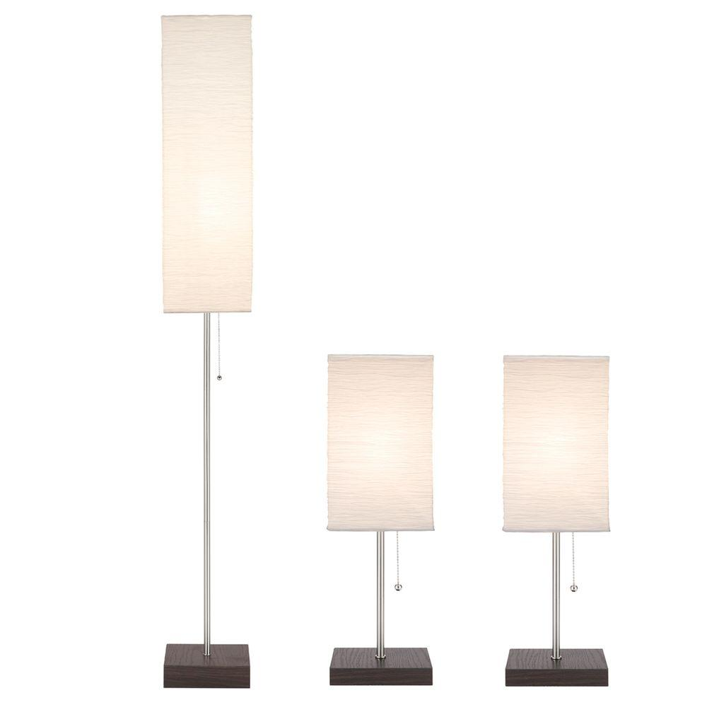 Hampton Bay 60 in. Floor and 19 in. Table Lamps with Paper Shade Combo Set (3-Pack)