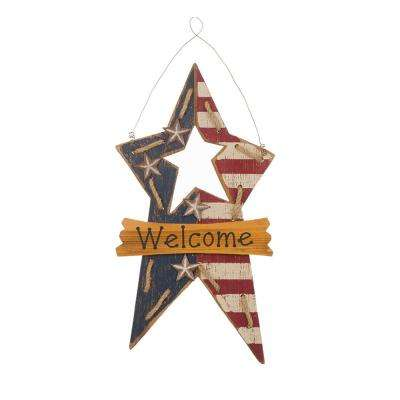 18.5 in. H Patriotic Wooden Star Wall Decor
