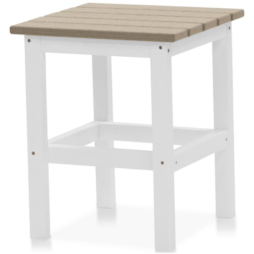 Icon White and Birchwood Plastic Outdoor Side Table
