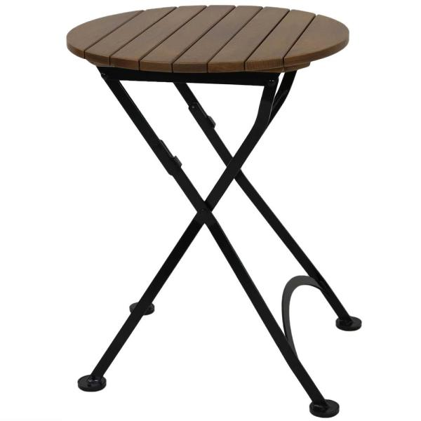 24 in. European Chestnut Wood Folding Round Bistro Dining Table