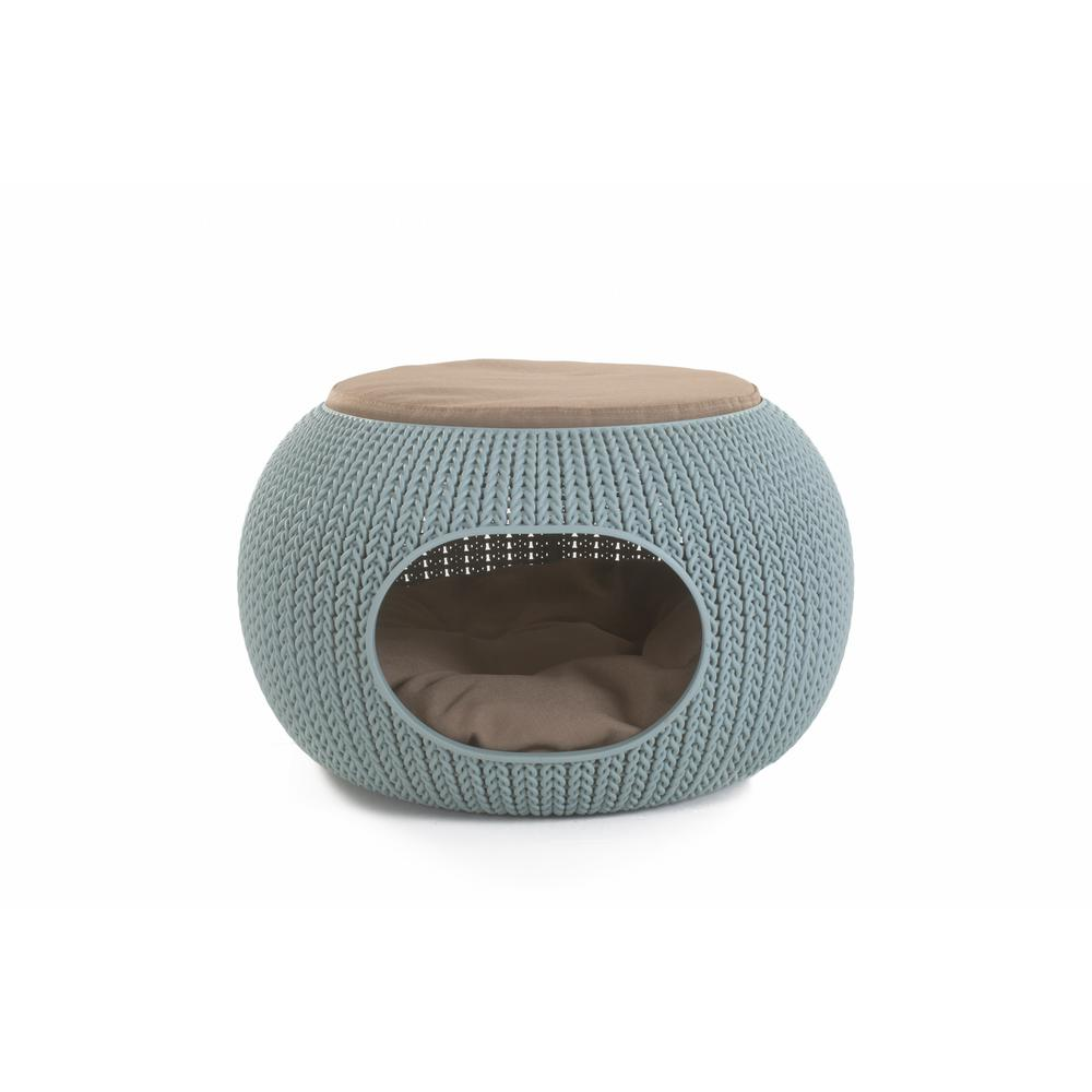 KNIT Cozy Small Misty Blue Resin Lounge Bed and Pet Home
