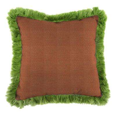 Sunbrella Linen Chili Square Outdoor Throw Pillow with Gingko Fringe