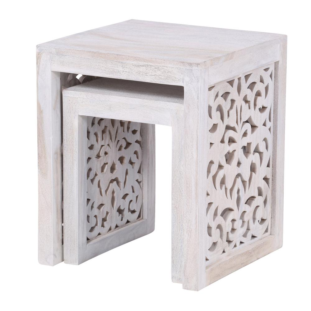 HomeDecoratorsCollection Home Decorators Collection Maharaja Sandblasted White 2-Piece Nesting End Table