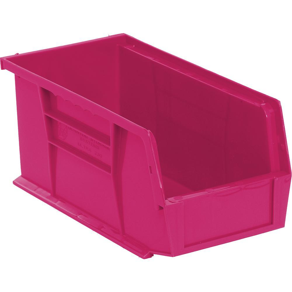 Ultra Series Stack and Hang 3.5 Gal. Storage Bin in Pink (12-Pack)