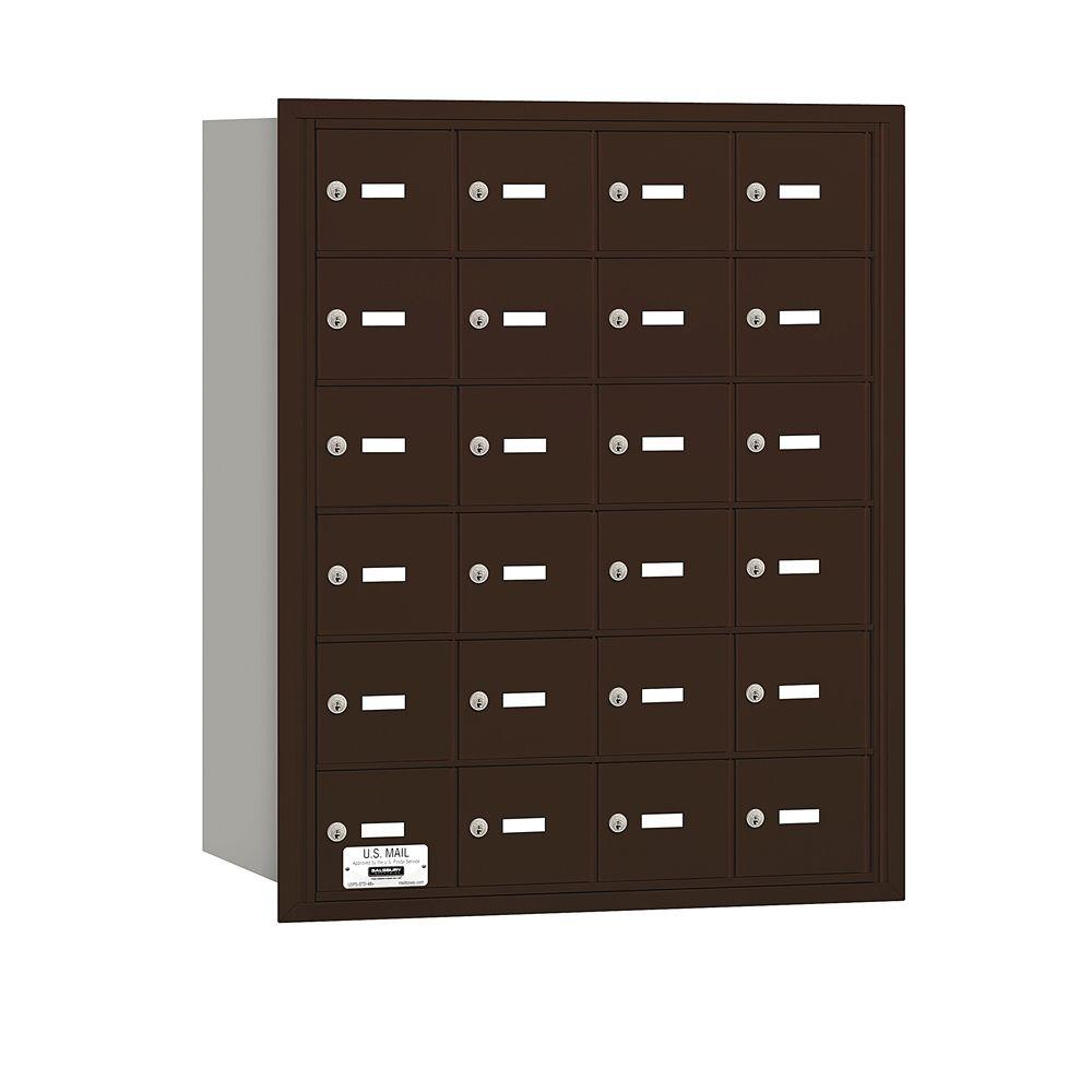 Salsbury Industries 3600 Series Bronze Private Rear Loading 4B Plus Horizontal Mailbox with 24A Doors