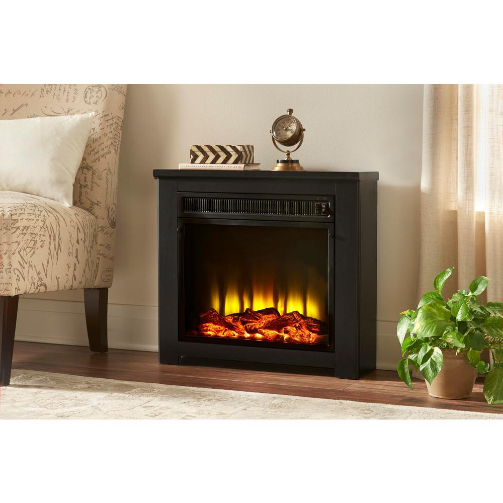 Home Decorators Collection Patterson 24 in. Freestanding Electric Fireplace in Black