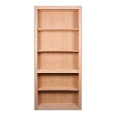36 in. x 80 in. Flush Mount Assembled Cherry Unfinished Wood 4-Shelf Interior Bookcase Door