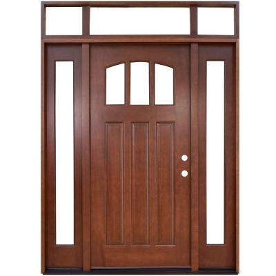 Craftsman 3 Lite Arch Stained Mahogany Wood Prehung Front Door with Sidelites and Transom