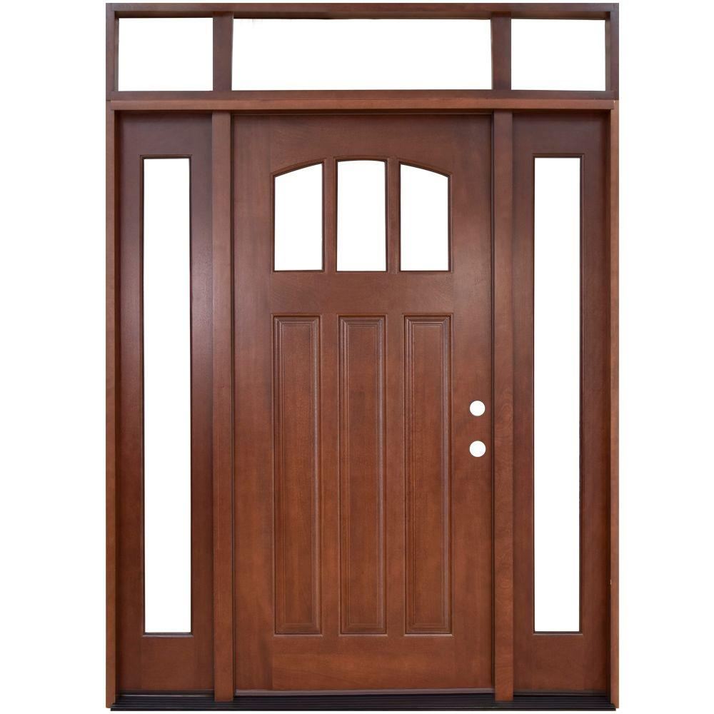 Steves U0026 Sons 64 In. X 80 In. Craftsman 3 Lite Arch Stained Mahogany