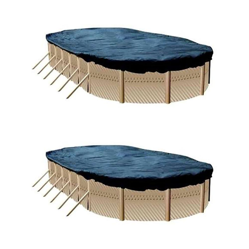 12 ft. x 24 ft. Heavy-Duty Oval Blue Above Ground Winter Pool Cover (2-Pack)