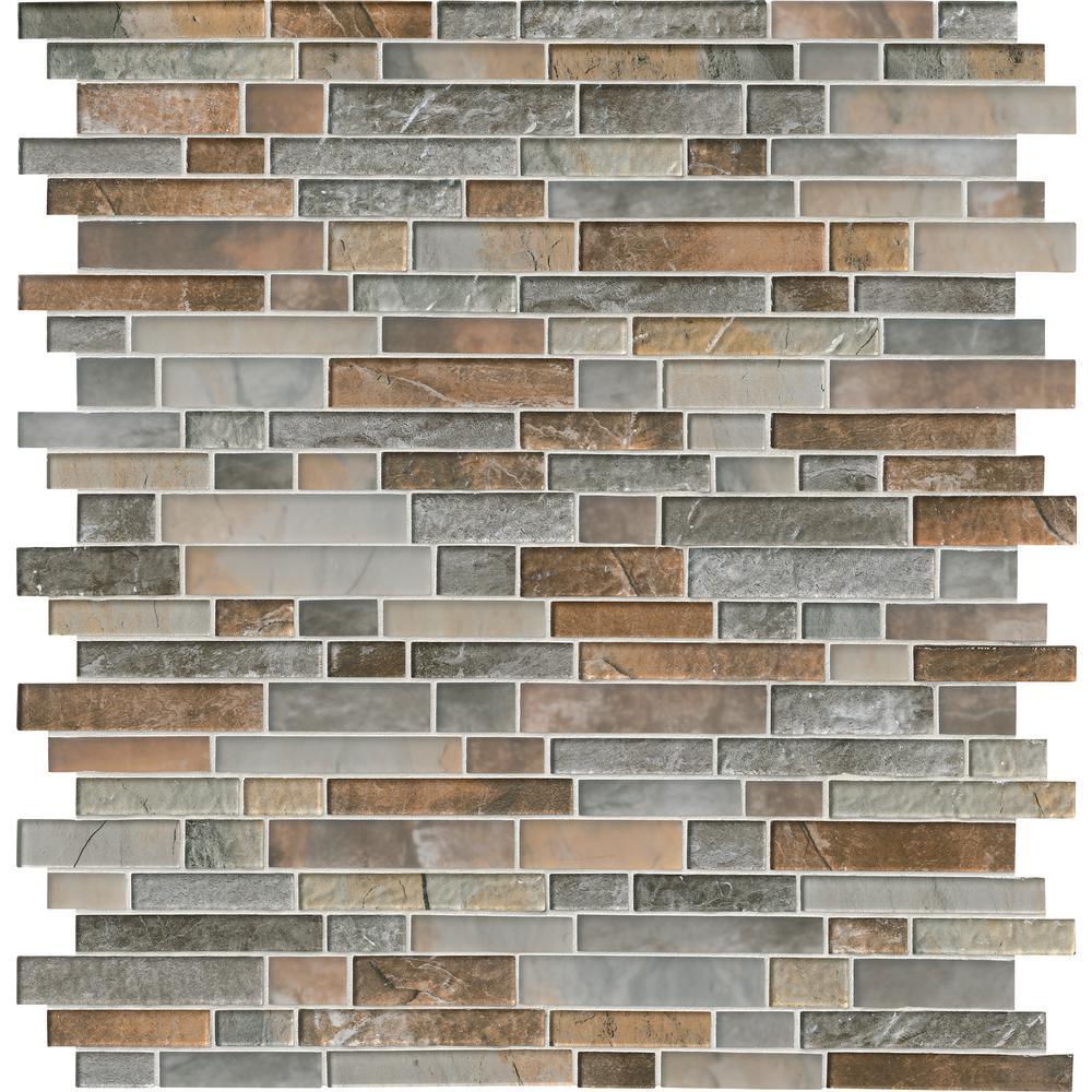 Taos Interlocking 12 in. x 13 in. x 8mm Glass Mesh-Mounted Mosaic Tile (10.4 sq. ft. / case)