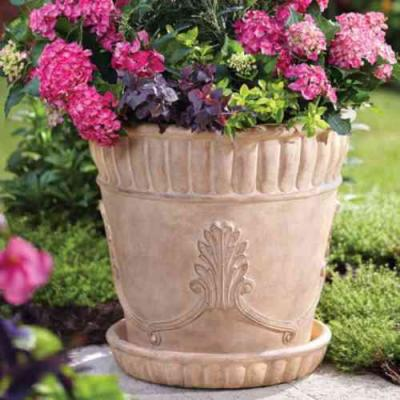 22.75 in. Dia in Aged Ivory Cast Stone Acanthus Pot with Saucer