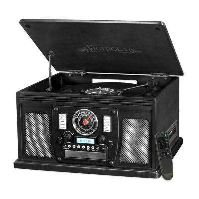 8-in-1 Nostalgic Bluetooth Record Player with USB Encoding and Turntable in Black