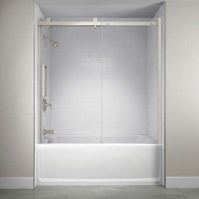 60 in. x 59 in. Semi-Frameless Exposed Sliding Shower Door in Brushed Nickel
