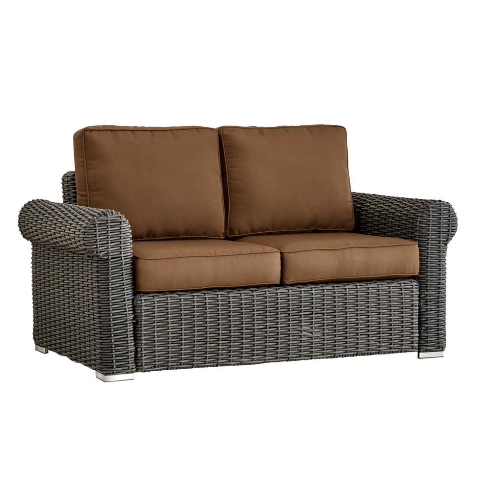 Homesullivan Camari Charcoal Rolled Arm Wicker Outdoor Loveseat With Brown Cushion 40e031c