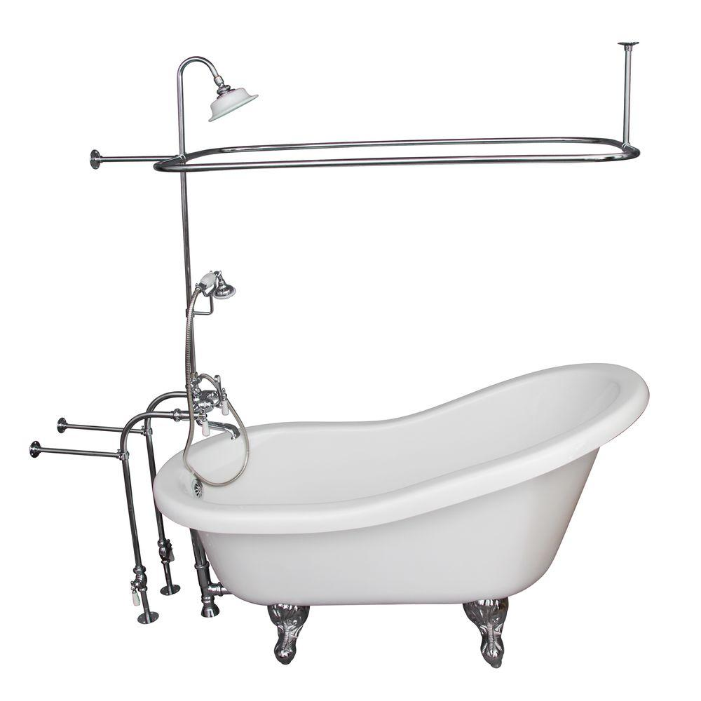 Barclay Products 5 ft. Acrylic Ball and Claw Feet Slipper Tub in White Polished Chrome Accessories