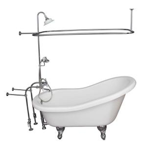 Barclay Products 5 ft. Acrylic Ball and Claw Feet Slipper Tub in White Polished Chrome Accessories by Barclay Products