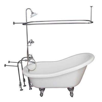 5 ft. Acrylic Ball and Claw Feet Slipper Tub in White Polished Chrome Accessories