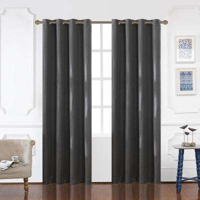 Odyssey Blackout Polyester Curtain in Charcoal - 84 in. L x 52 in. W