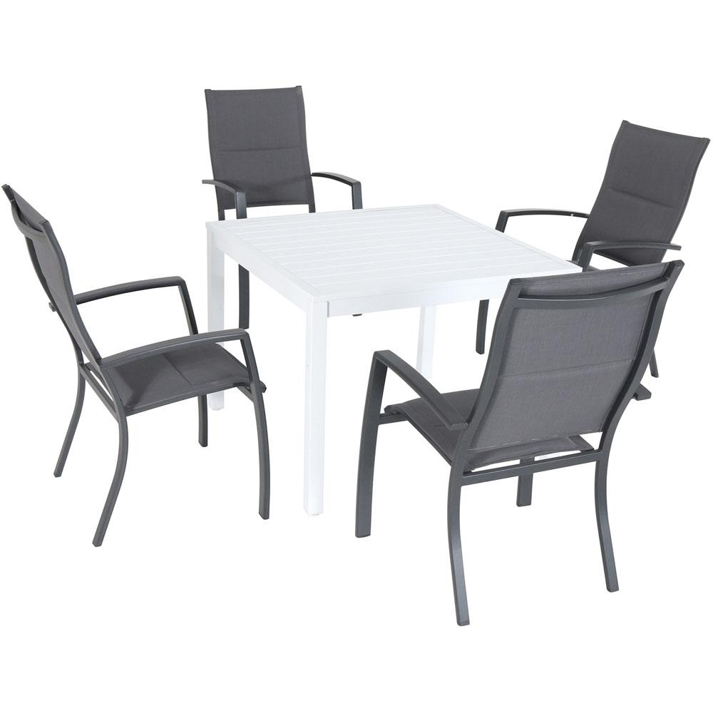 Genial Hanover Del Mar 5 Piece Aluminum Outdoor Dining Set With 4 Padded Sling  Chairs