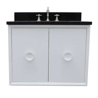 Stora 31 in. W x 22 in. D Wall Mount Bath Vanity in White with Granite Vanity Top in Black with White Rectangle Basin