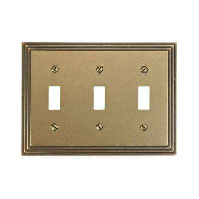 Steps 3 Toggle Wall Plate - Rustic Brass