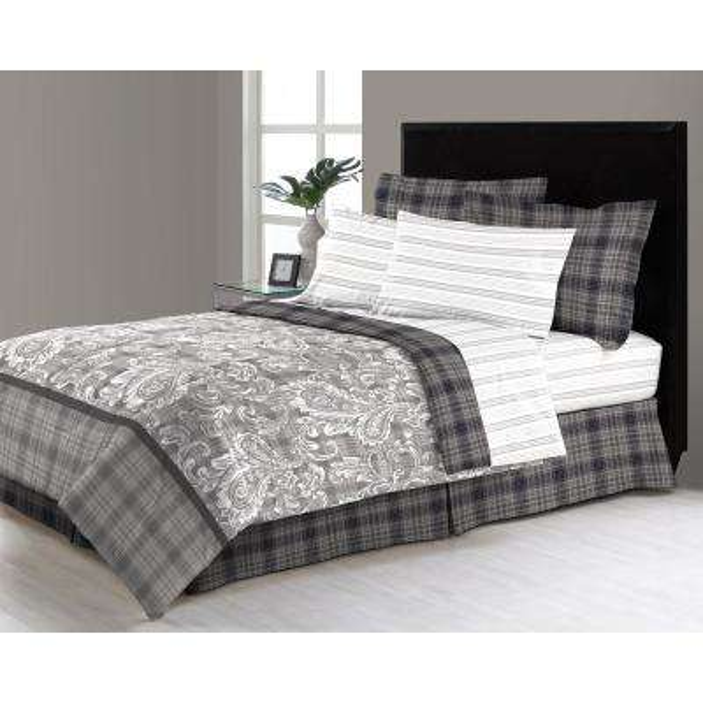 East Millburn Gray 6-Piece Twin Bed in a Bag Comforter Set