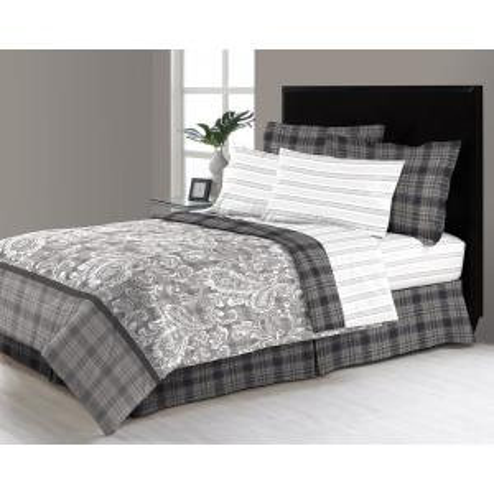 East Millburn Gray 8-Piece Queen Bed in a Bag Comforter Set by
