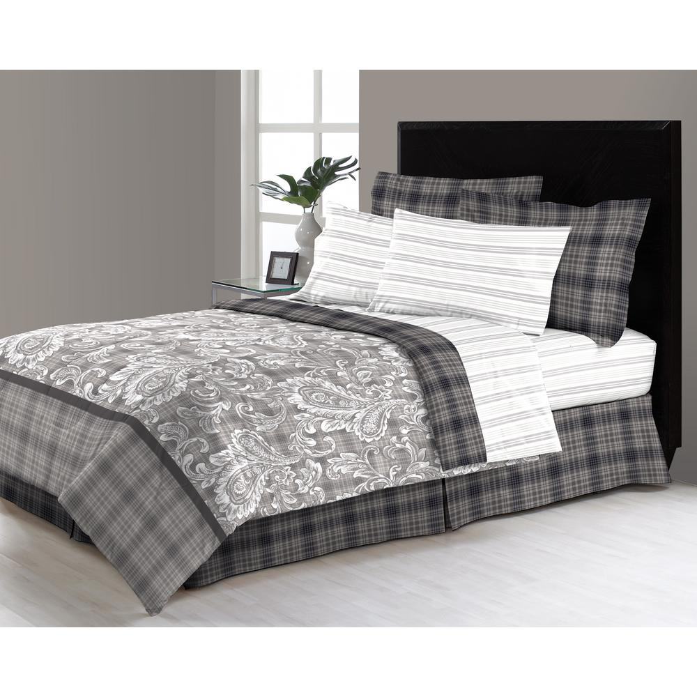 Brown Amp Grey Shadow Box Lime 8 Piece Queen Bed In Bag Set